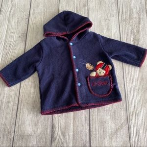 Bon Bebe navy fleece hooded jacket